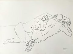 Laying ones - Minimalistic pencil drawing on paper, Couple, Nude, Black & white