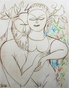 Etruscan couple - Contemporary drypoint print with crayons, Green red blue