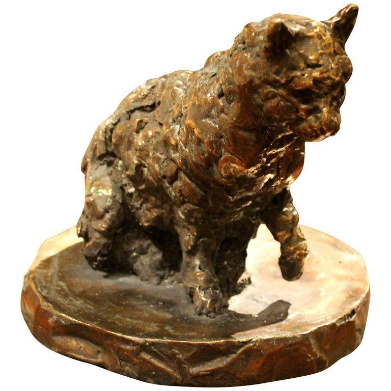 Pablo Simunovic Figurative Sculpture -  Cat on a Round Base, Bronze Sculpture, Lost Wax Casting Technique