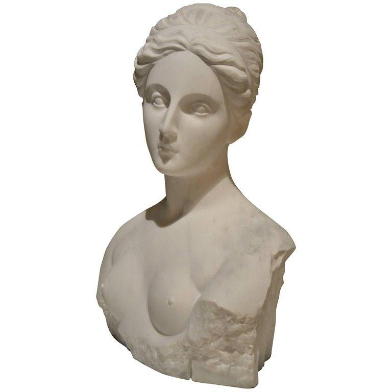 Jessica Ielpo Nude Sculpture - White Carrara Venus Marble Bust, Pietrasanta, 2017