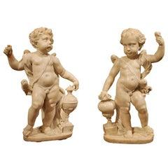 Pair of Italian Baroque 17th Century White Carrara Marble Putti Sculptures