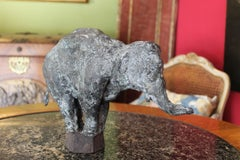 Elephant on Iron Pedestal, Lost Wax Casting Bronze Sculpture with Gray Patina