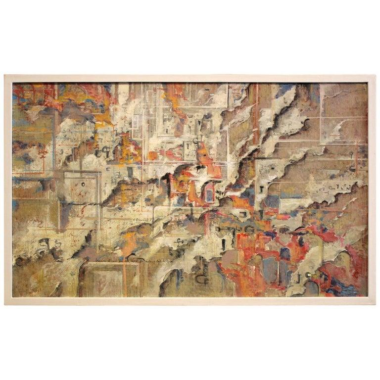 Urban Abstraction (ripped off posters) Italian Expressionist Painting on Canvas