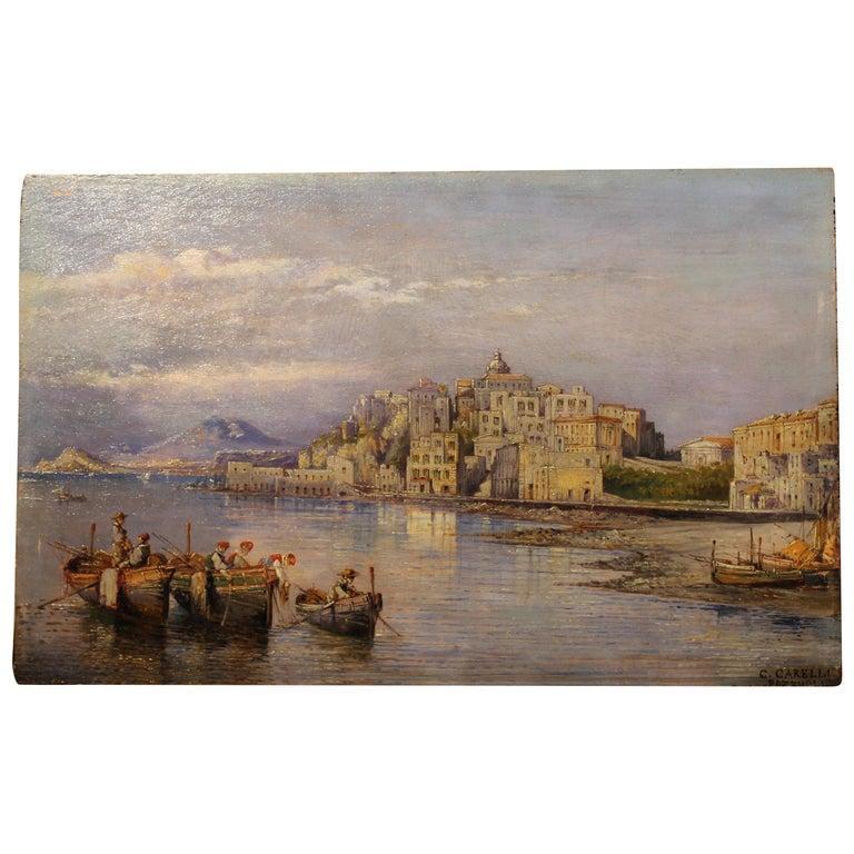 19th Century Italian Rectangular Oil on Board Landscape View Marine Painting