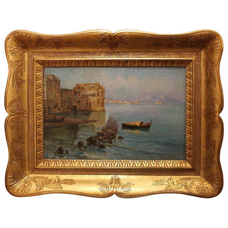 Marine Landscape View Italian impressionist 19th Century Oil on Canvas Painting