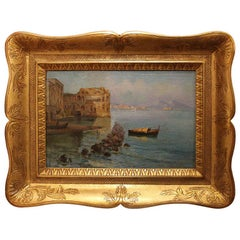 Italian 19th Century Oil on Canvas Landscape Painting View of the Bay of Naples