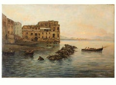 Italian Posillipo Marine Landscape Painting with the Bay of Naples and Castle