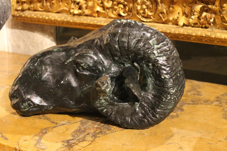 Ram's Head Contemporary Plaster Sculpture with Green Patina Ancient Rome Style For Sale 3