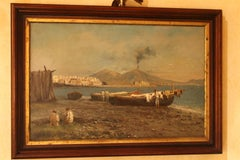 Fishermen Naples Bay Italian Impressionist Oil on Cardboard Landscape Painting