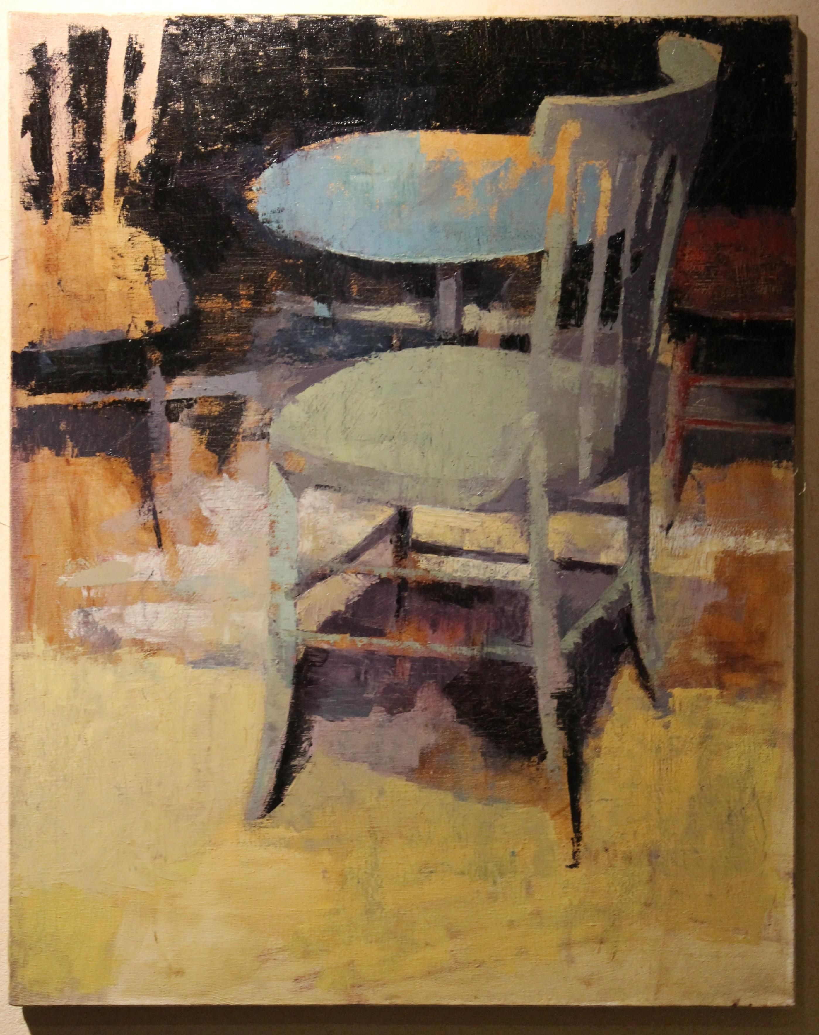 Contemporary Oil on Canvas Interior Scene with Round Table and Chairs Painting