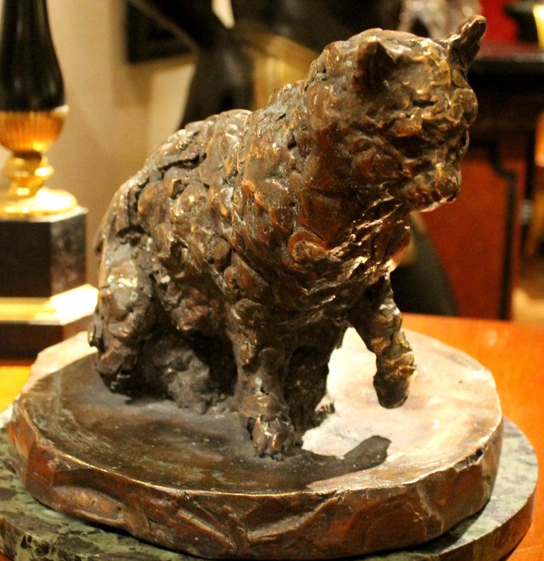 Cat on a Round Base, Bronze Sculpture, Lost Wax Casting Technique - Gold Figurative Sculpture by Pablo Simunovic