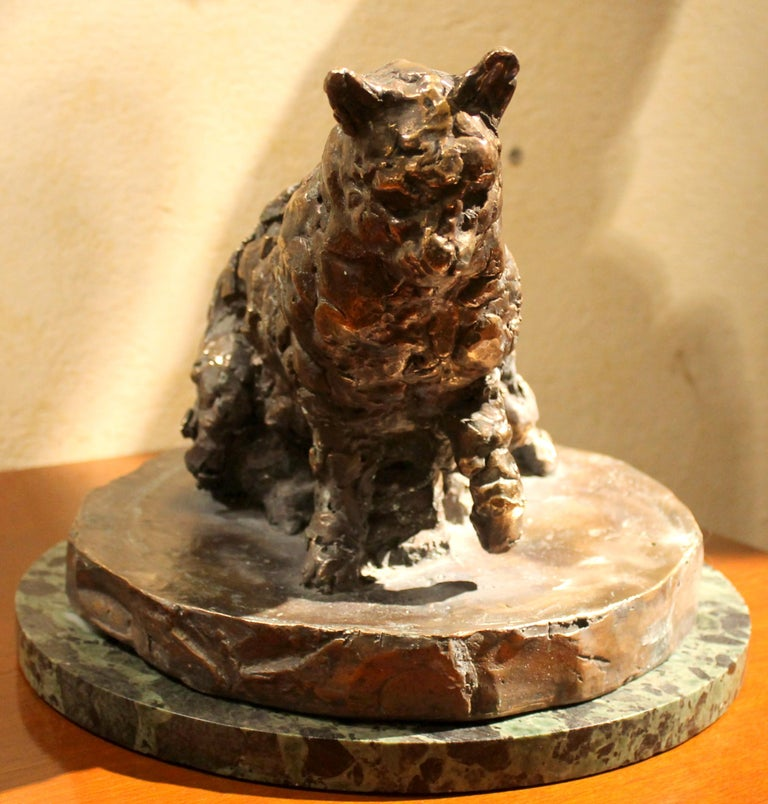 Cat on a Round Base, Bronze Sculpture, Lost Wax Casting Technique For Sale 1