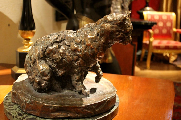 Cat on a Round Base, Bronze Sculpture, Lost Wax Casting Technique For Sale 2