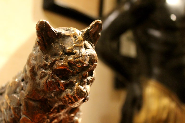 Cat on a Round Base, Bronze Sculpture, Lost Wax Casting Technique For Sale 3