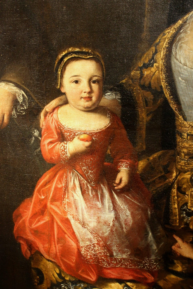 This museum quality old master oil on canvas formal portrait painting depicting the family of the Count Zanardi is signed by the artist- the female painter Lucia Casalini Torelli- and published in a book dedicated to Casalini Torelli's workshop and
