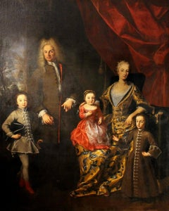 Oil on Canvas Painting Portrait of the Italian Noble Family of Zanardi Count
