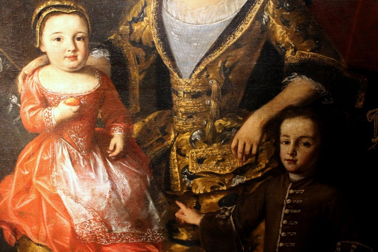 Oil on Canvas Painting Portrait of the Italian Noble Family of Zanardi Count - Black Portrait Painting by Lucia Casalini Torelli