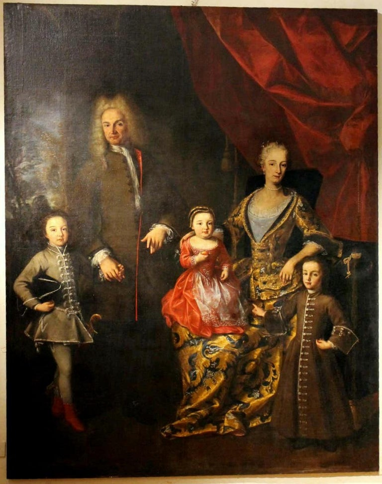 Oil on Canvas Painting Portrait of the Italian Noble Family of Zanardi Count For Sale 10