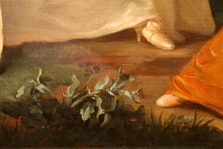 Italian Oil on Canvas Painting Three Young Ladies Portrait in a Garden Landscape For Sale 10