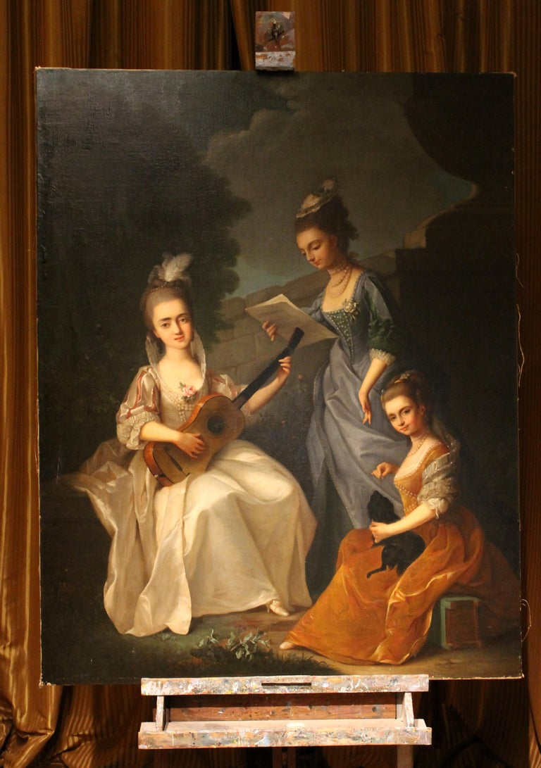Italian Oil on Canvas Painting Three Young Ladies Portrait in a Garden Landscape - Black Portrait Painting by Violante Beatrice Siries Cerroti