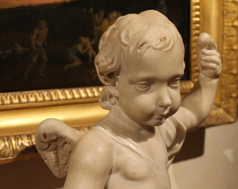 A. Lazzoni, Italian 17th Century Baroque White Carrara Marble Putti Sculptures   For Sale 15
