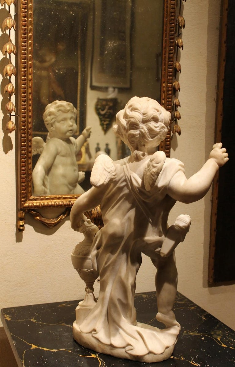 A. Lazzoni, Italian 17th Century Baroque White Carrara Marble Putti Sculptures   For Sale 2
