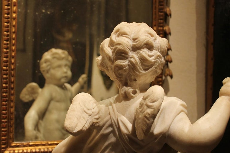 A. Lazzoni, Italian 17th Century Baroque White Carrara Marble Putti Sculptures   For Sale 3