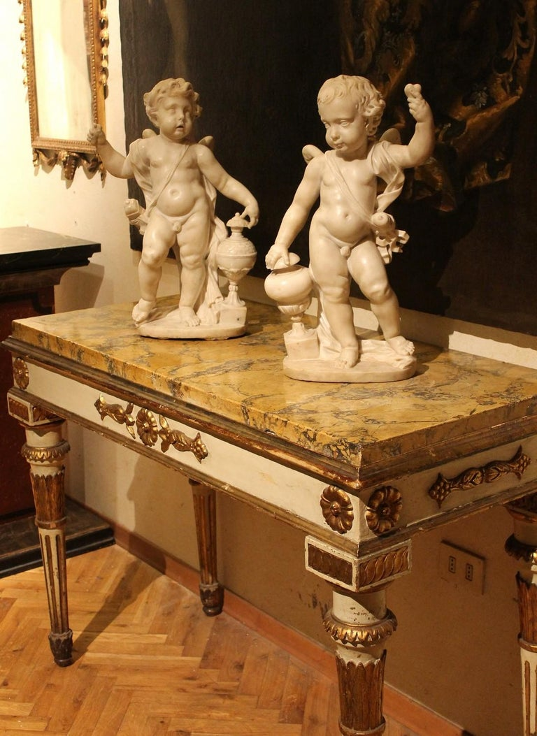 A. Lazzoni, Italian 17th Century Baroque White Carrara Marble Putti Sculptures   For Sale 13