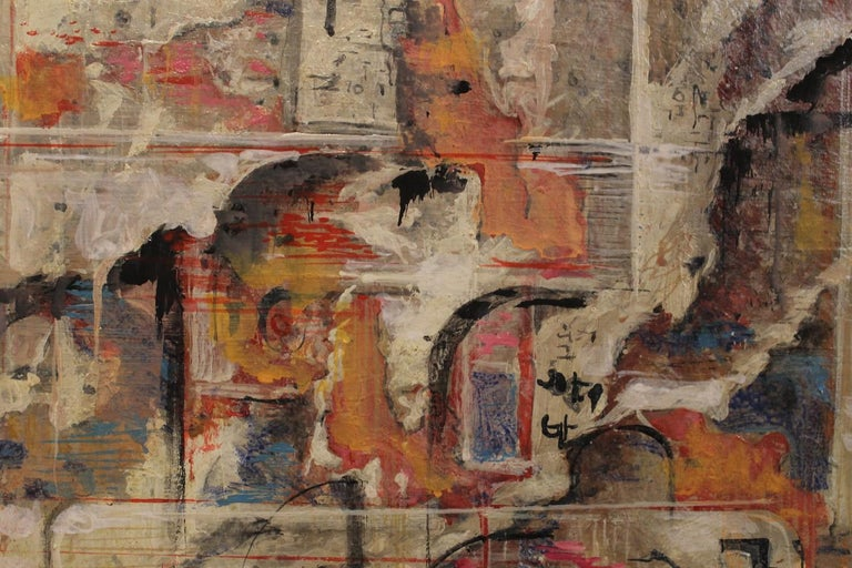 Urban Abstraction (ripped off posters) Italian Expressionist Painting on Canvas For Sale 6