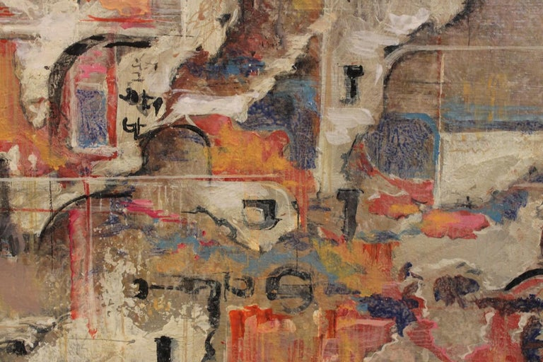 Urban Abstraction (ripped off posters) Italian Expressionist Painting on Canvas For Sale 7
