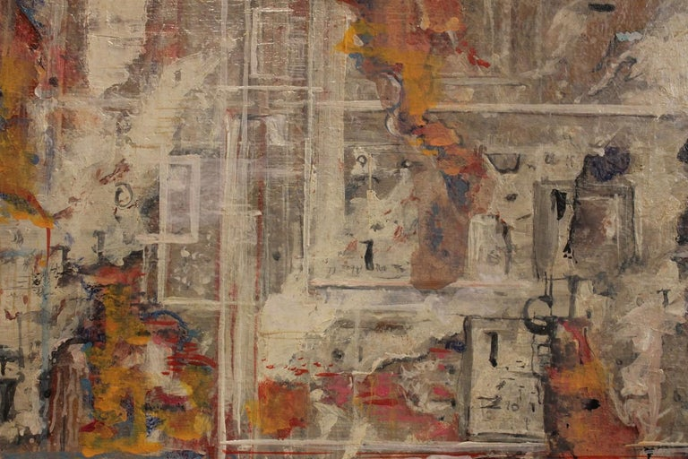 Urban Abstraction (ripped off posters) Italian Expressionist Painting on Canvas For Sale 14