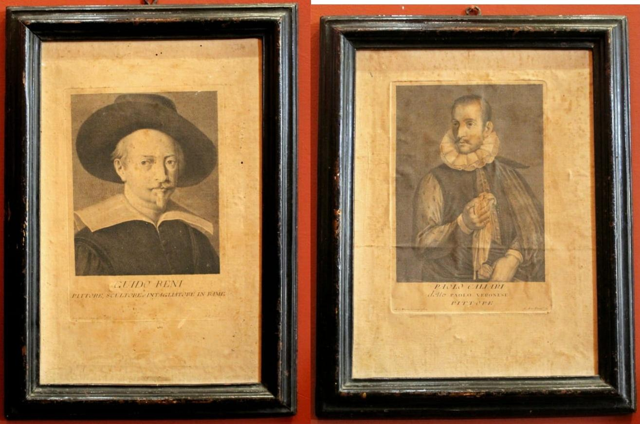 Italian Painter's Portrait Engravings on Laid Paper on Canvas in Ebonized Frames