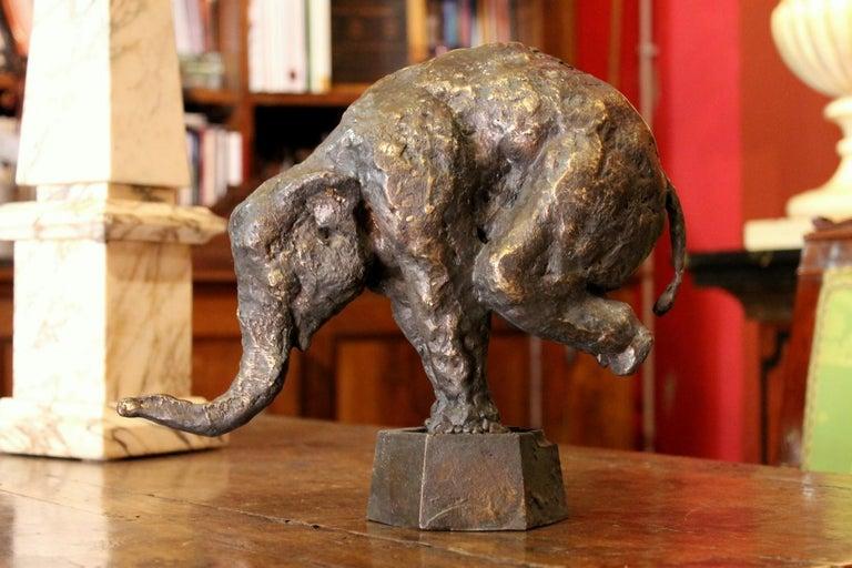 Elephant on Iron Pedestal, Lost Wax Casting Parcel-Gilt Patina Bronze Sculpture For Sale 1