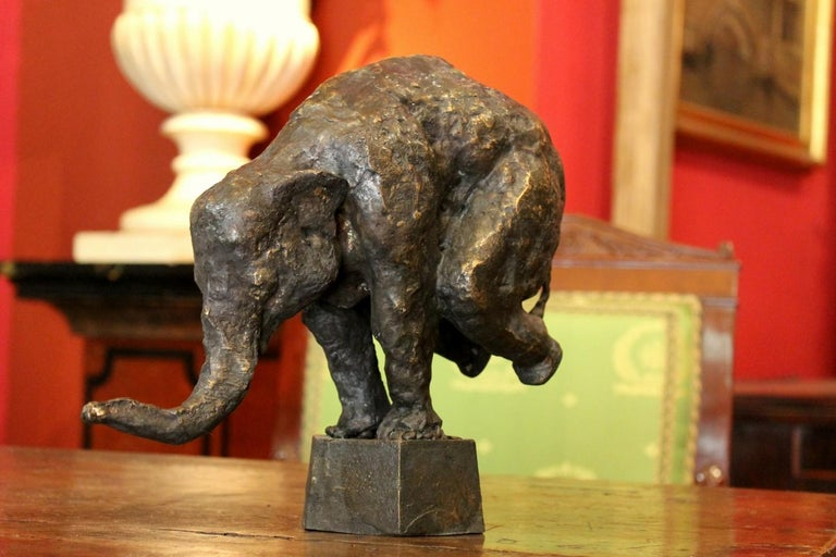 Elephant on Iron Pedestal, Lost Wax Casting Parcel-Gilt Patina Bronze Sculpture For Sale 2
