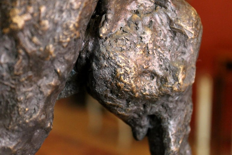 Elephant on Iron Pedestal, Lost Wax Casting Parcel-Gilt Patina Bronze Sculpture For Sale 12