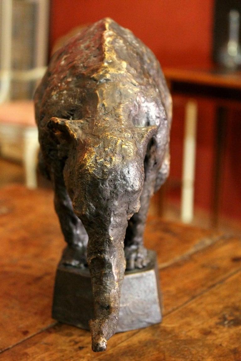 Elephant on Iron Pedestal, Lost Wax Casting Parcel-Gilt Patina Bronze Sculpture For Sale 14