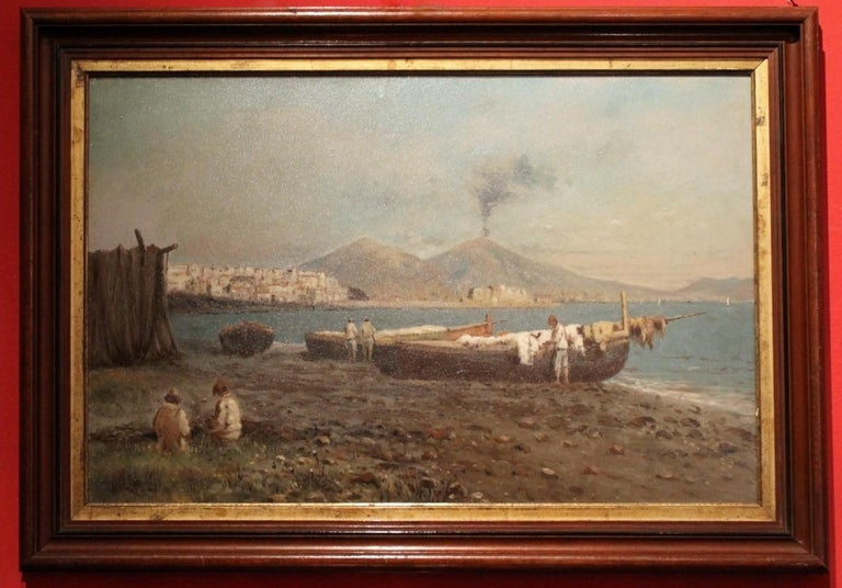 Francesco Coppola Castaldo Figurative Painting - Italian Impressionist Oil on Board Marine Landscape Painting Naples Bay View