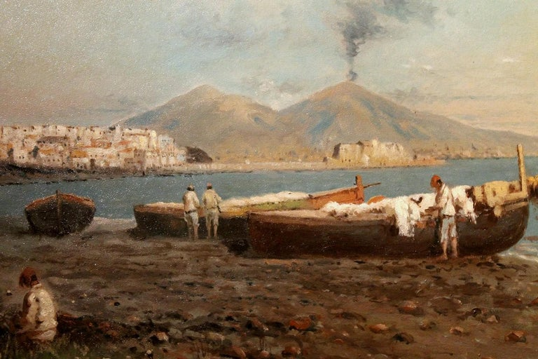 Italian Impressionist Oil on Board Marine Landscape Painting Naples Bay View For Sale 6