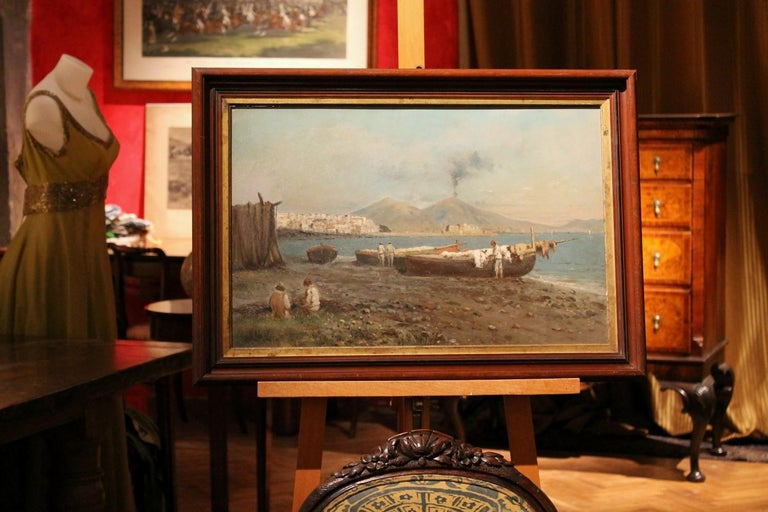 Italian Impressionist Oil on Board Marine Landscape Painting Naples Bay View For Sale 2