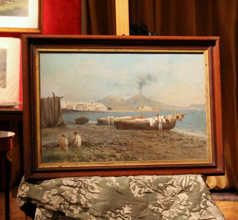 Italian Impressionist Oil on Board Marine Landscape Painting Naples Bay View For Sale 5