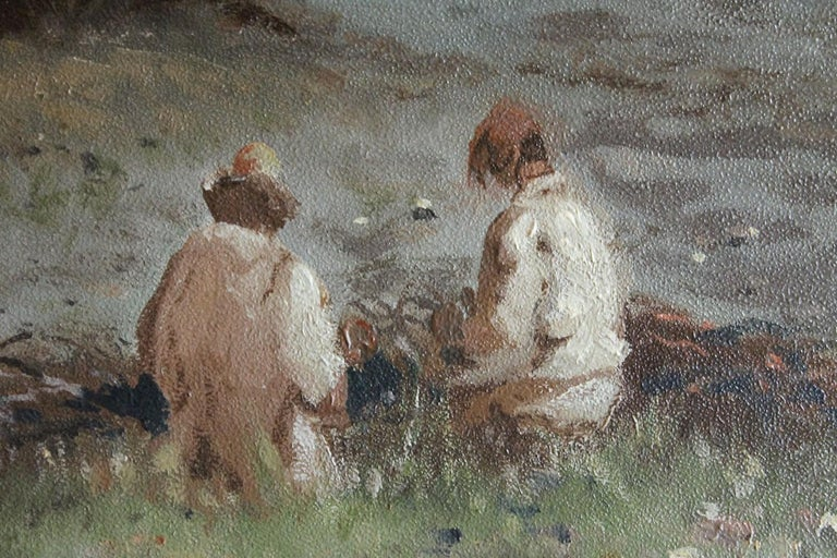 Everyday fishermen life is captured in this wonderful Italian impressionist late 19th century oil painting on thin board titled fishermen ashore. We love the neutral and natural color palette the painter used to photograph a moment of daily life in