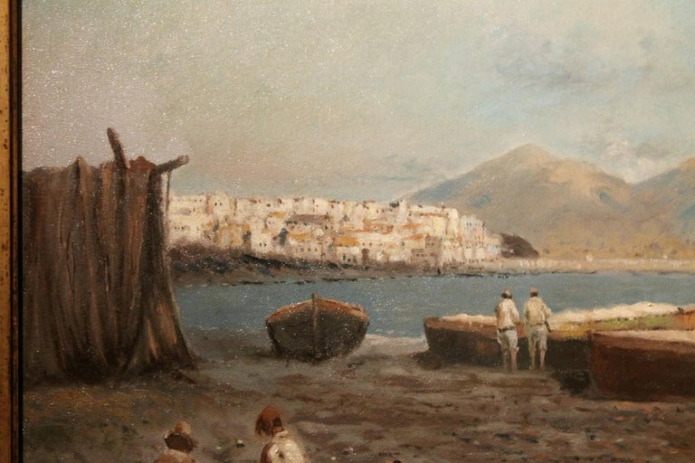 Italian Impressionist Oil on Board Marine Landscape Painting Naples Bay View For Sale 3
