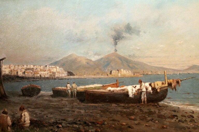 Italian Impressionist Oil on Board Marine Landscape Painting Naples Bay View For Sale 4