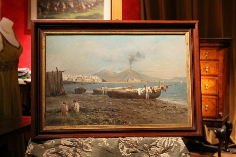 Italian Impressionist Oil on Board Marine Landscape Painting Naples Bay View - Brown Figurative Painting by Francesco Coppola Castaldo