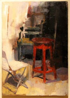 Contemporary Oil on Canvas Interior Scene with Red Stool and Chairs Painting
