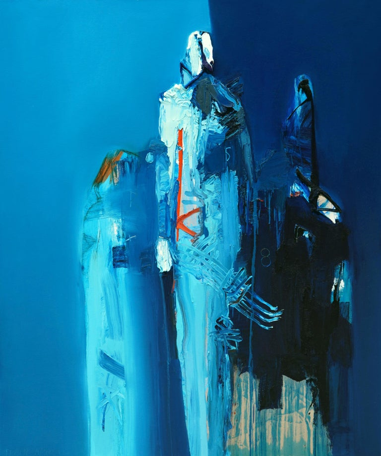 "Oil on Canvas ""Azul Paseo"" by abstract-figurative artist, Frank Arnold - Painting by Frank Arnold"
