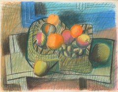 Still life with coloured fruits by Raymond Debiève, oil pastel on paper, undated