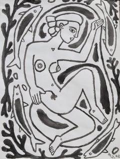 Mermaid in the waves, Michel Debiève, 2002, unique piece in Indian Ink, unframed