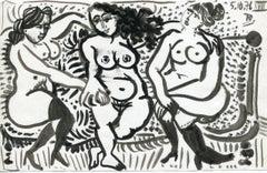 Trois femmes nues - XVIII (18) - Raymond Debiève, unique piece