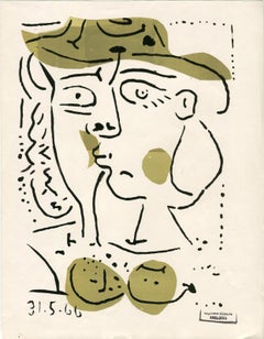 Femme au chapeau vert, Monotype, Contemporary, Late 20th Century